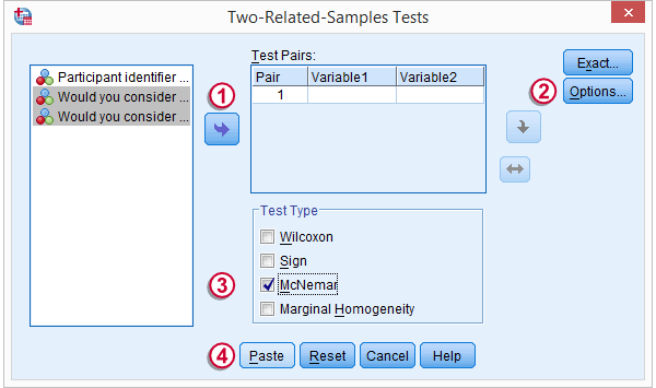 SPSS McNemar Test Dialog