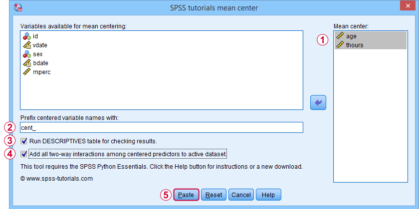 SPSS Mean Center Predictors Tool Dialog