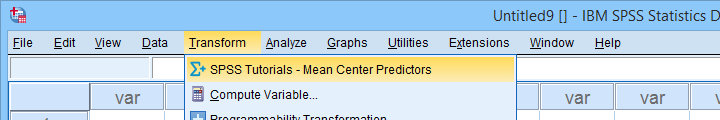 SPSS Mean Center Predictors Tool Menu