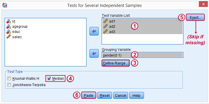 SPSS Median Test 2 Independent Medians - Main Dialog