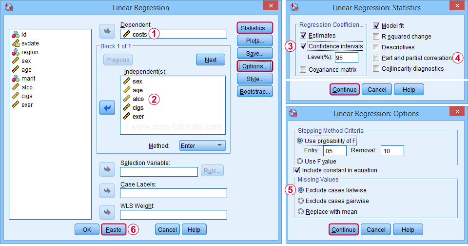 SPSS Multiple Linear Regression Dialogs
