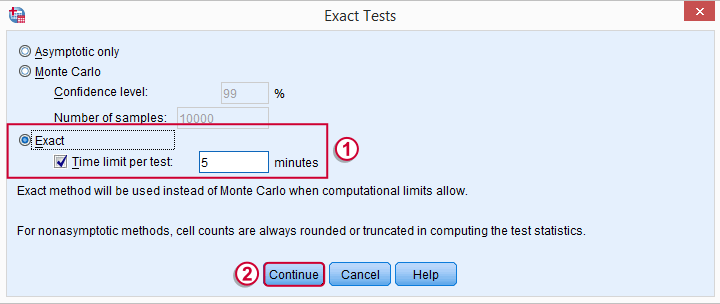SPSS Nonparametric Tests - Exact Tests Dialog