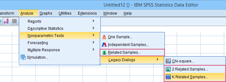 SPSS Nonparametric Tests Menu K Related Samples