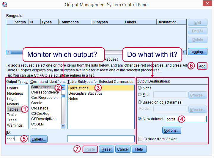 SPSS OMS Control Panel