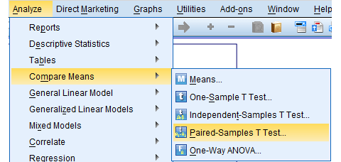SPSS Paired Samples T-Test Dialog