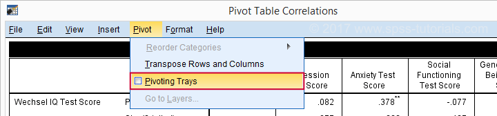 SPSS Pivoting Trays Menu