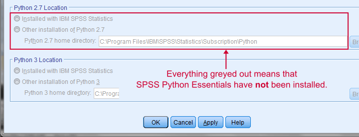 SPSS Python Essentials not Installed