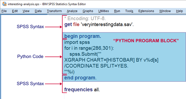 SPSS Python Program block in SPSS syntax Window