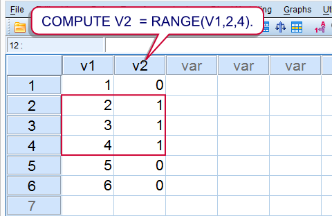 SPSS Range Function Result