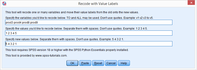 SPSS Recode With Value Labels Tool - Interface