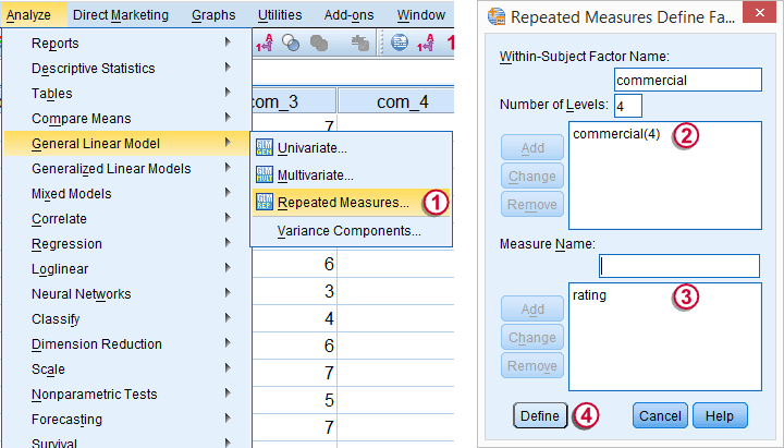 SPSS Repeated measures ANOVA Dialog