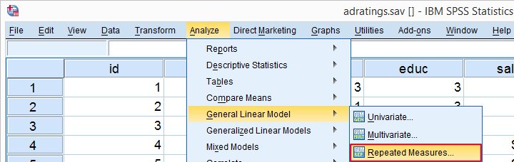 SPSS Repeated Measures ANOVA Main Menu