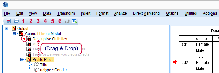SPSS Repeated Measures ANOVA Reorder Output Items