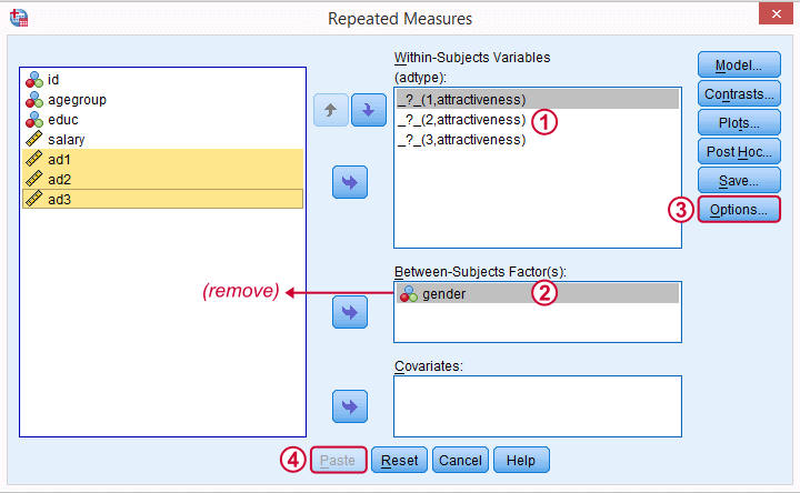 SPSS Repeated Measures ANOVA Main Dialog