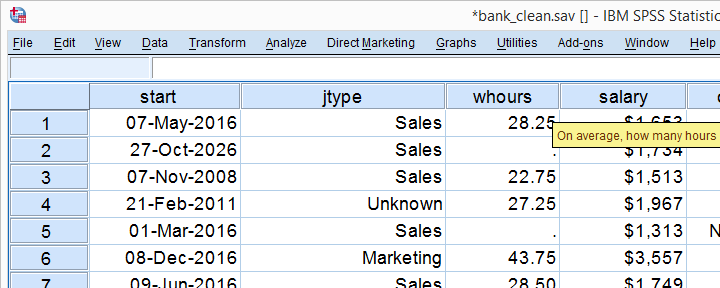 SPSS Scatterplot Data View Bank Clean