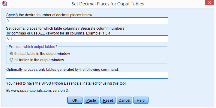 SPSS Set Decimals Output Tables