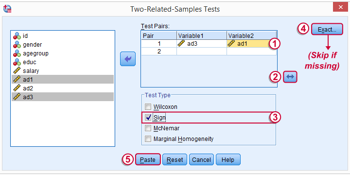 SPSS Sign Test Related Medians - Main Dialog