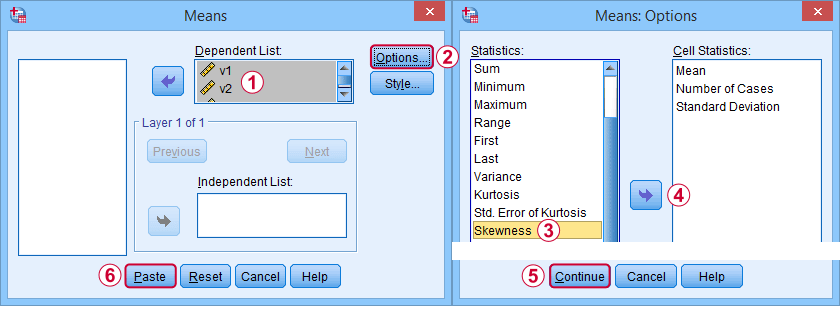 SPSS Skewness Via Means Dialog