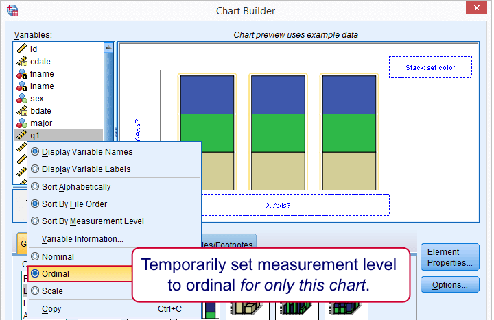 SPSS Stacked Bar Chart - Set Measurement Level