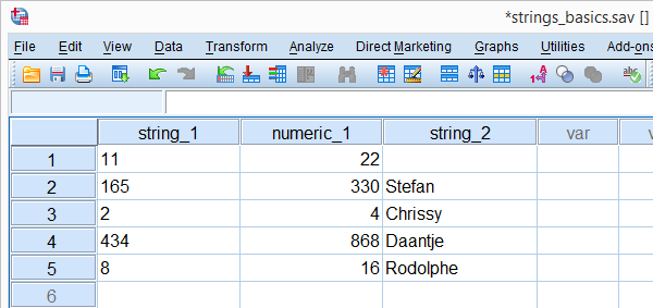 SPSS String Variable Basics Data File