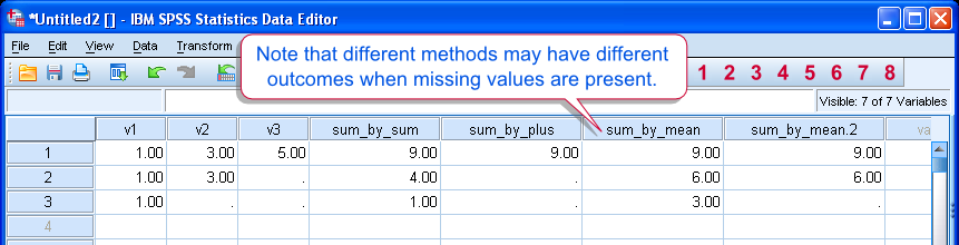 SPSS Sum, Mean and Plus