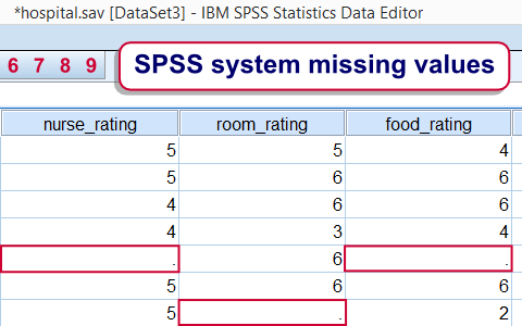 SPSS system missing values in data view