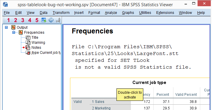 SPSS Tablelook Bug