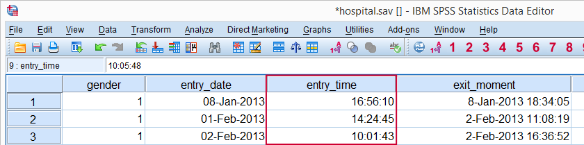 SPSS Time Variable in Data
