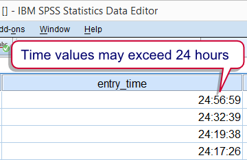 SPSS Time Variable Large Values