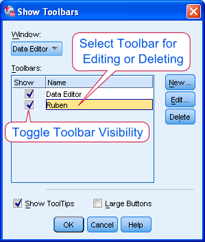 SPSS Toolbar Settings