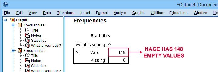 SPSS Valid Values For Frequencies