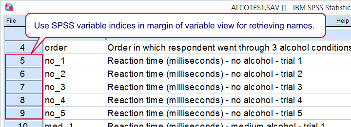 SPSS Alcotest Data Variable View
