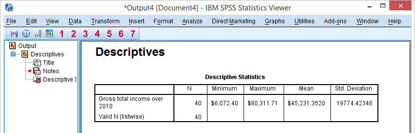 SPSS - What Is It? - Output Viewer Window