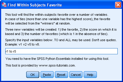 SPSS Within Subjects Favorite Tool