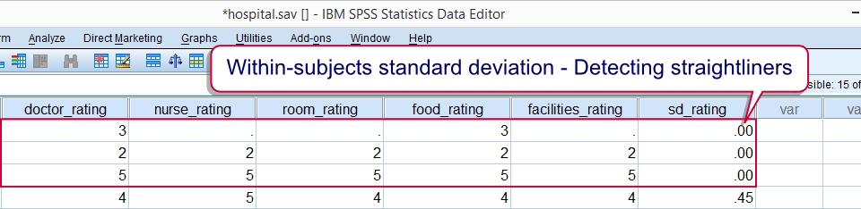 SPSS Within-Subjects Standard Deviation for Detecting Straightliners