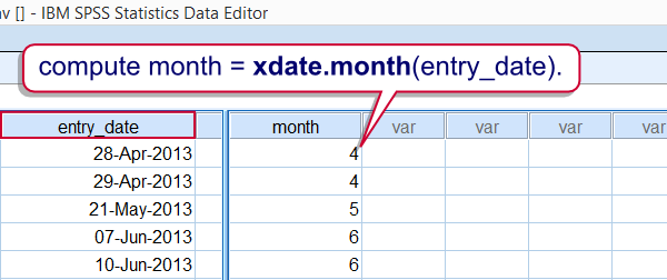 SPSS Xdate Function Example