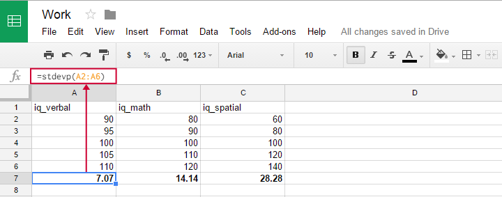 Standard Deviation in GoogleSheets